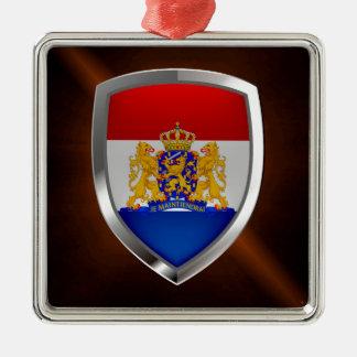Het MetaalEmbleem van Nederland Zilverkleurig Vierkant Ornament