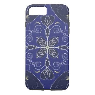 Het middeleeuwse Barokke blauwe donkere patroon iPhone 8/7 Plus Hoesje