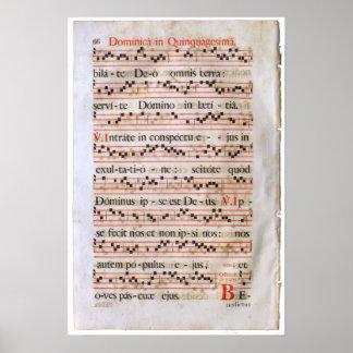 Het middeleeuwse Poster van de Score van de Muziek