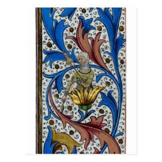 Het middeleeuwse vrouw spinnen met as en spinrok briefkaart
