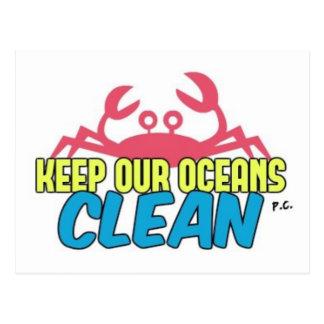 Het milieu houdt Onze Schone Slogan van Oceanen Briefkaart
