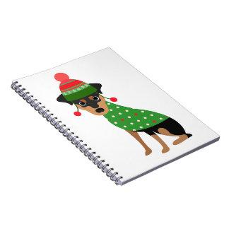 Het miniatuur Notitieboekje van Kerstmis Pinscher Ringband Notitieboek