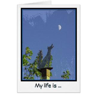 Het missen van u--Het huilen bij de Maan Notecard Kaart