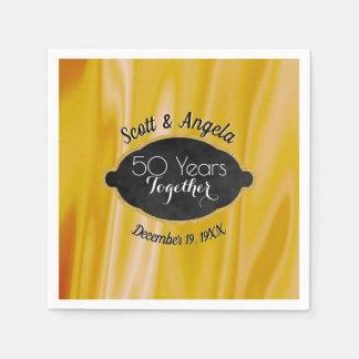 Het moderne 50ste Jubileum van de Gouden bruiloft Papieren Servet