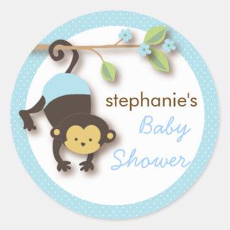 Het moderne Baby shower van de Jongen van de Aap Z Ronde Sticker
