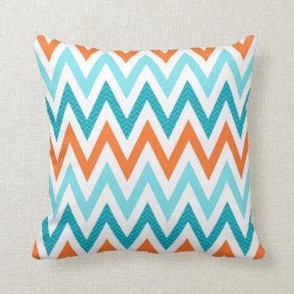 Het moderne Blauwe Patroon Oranje Aqua van de Sierkussen