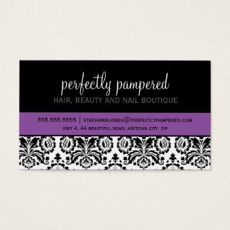 Het moderne damast zwarte violette paars van het visitekaartjes
