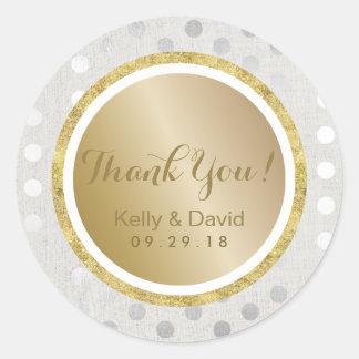 Het moderne Goud & de Zilveren bruiloft danken u Ronde Sticker