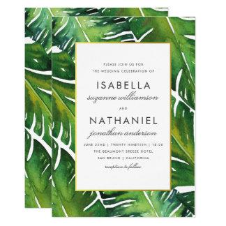 Het moderne Groene Tropische Huwelijk van Bladeren Kaart