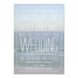 Het Moderne Huwelijk van de Foto van het strand 12,7x17,8 Uitnodiging Kaart