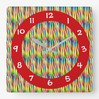 Het moderne Kleurrijke Patroon van Strepen Vierkante Klok