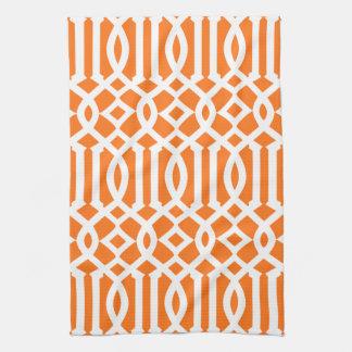 Het moderne Oranje en Witte Patroon van het Theedoek