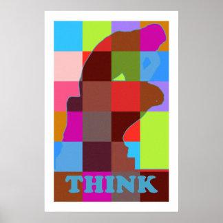 Het moderne pop-art DENKT Poster