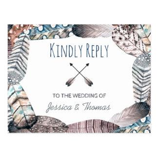 Het moderne Stammen Boheemse Huwelijk RSVP van Briefkaart