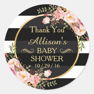 Het moderne Vintage BloemenBaby shower van het Ronde Sticker