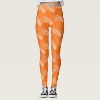 Het Moderne Wit van abstracte Oranje Lijnen Leggings