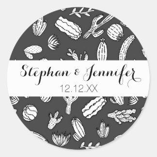 Het moderne Witte en Zwarte Succulente Patroon van Ronde Sticker