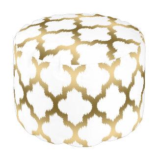 Het moderne Witte & Gouden Patroon van Quatrefoil Poef