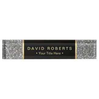 Het moderne Zilver schittert Elegant Zwart Etiket Naambord
