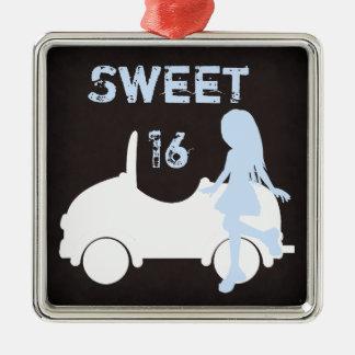 Het moderne Zoete Meisje en de Auto van 16 Zilverkleurig Vierkant Ornament