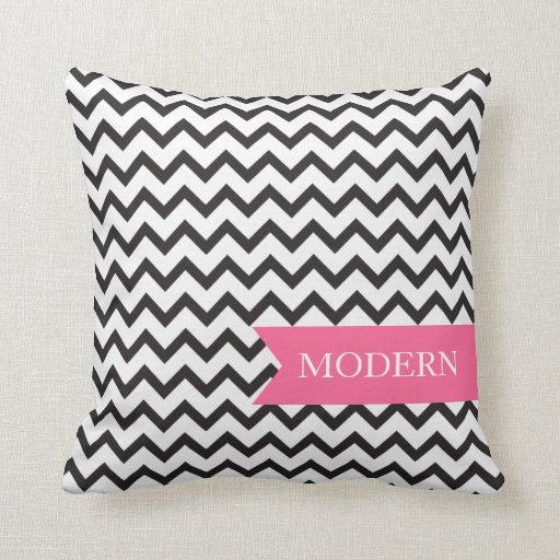 Het moderne zwart witte hoofdkussen van de zigzag lounge kussen zazzle - Moderne zwart witte lounge ...