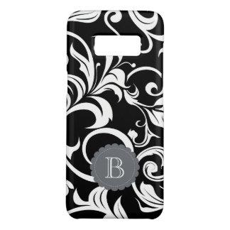 Het moderne Zwarte Witte BloemenMonogram van de Case-Mate Samsung Galaxy S8 Hoesje