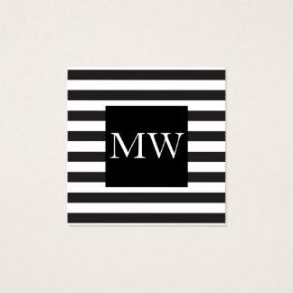 Het moderne Zwarte Witte Monogram van Strepen Vierkant Visitekaartjes
