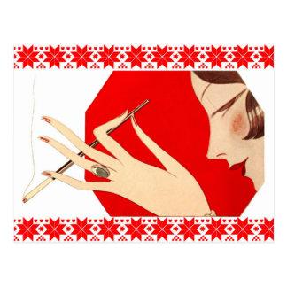 Het modieuze Roken van de Vrouw Briefkaart