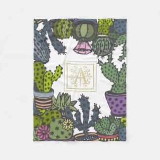 Het Monogram A van de cactus Fleece Deken