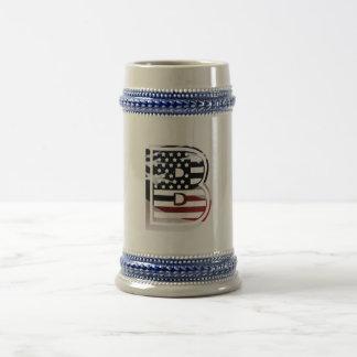Het monogram B de V.S. markeert Amerikaanse Bierpul