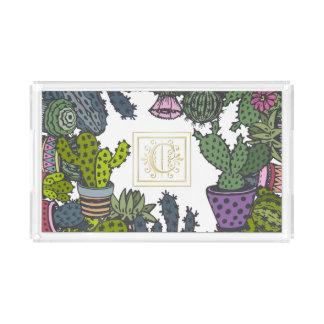 Het Monogram C van de cactus Acryl Dienblad