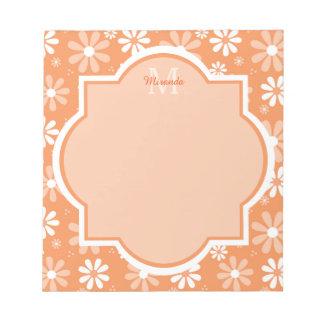 Het Monogram Leuke Oranje Daisy Flowers van Girly Notitieblok