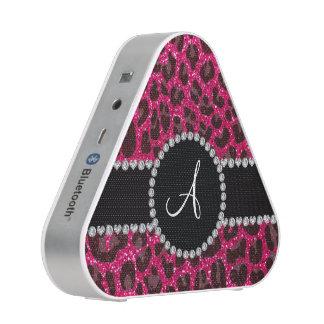 Het monogram nam roze schittert luipaard toe bluetooth luidspreker