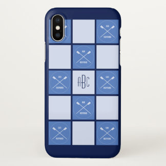 Het monogram oarsome blauwe vierkanten van roeiers