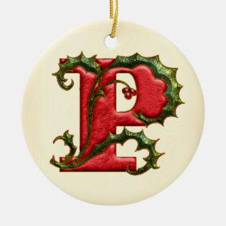 Het Monogram P van de Hulst van Kerstmis Rond Keramisch Ornament