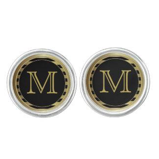 Het monogram past het Gouden Zwarte Elegante Manchetknopen