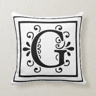 Het Monogram van de brief G werpt Hoofdkussen Sierkussen