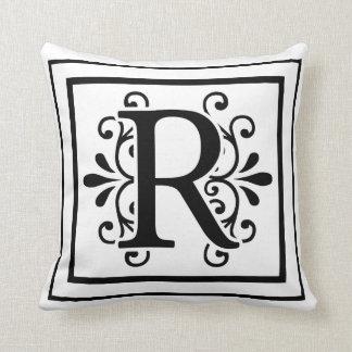 Het Monogram van de brief R werpt Hoofdkussen Sierkussen