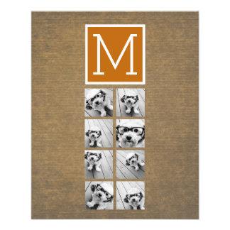 Het Monogram van de Collage van de foto - Rustiek Flyer 11,4 X 14,2 Cm