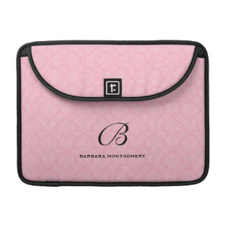 Het Monogram van de douane in Roze Damast MacBook Pro Sleeve