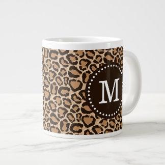 Het Monogram van de Douane van de bruine en Druk Grote Koffiekop