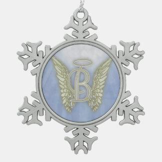 Het Monogram van de Engel van de brief B Tin Sneeuwvlok Ornament
