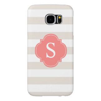 Het Monogram van de Strepen van het beige en van Samsung Galaxy S6 Hoesje