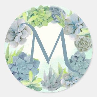 Het Monogram van de Waterverf van Succulents Ronde Sticker