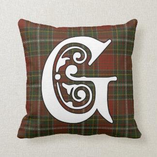 Het Monogram van het Geruite Schotse wollen stof Sierkussen