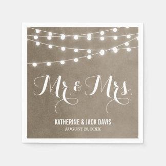 Het Monogram van het Huwelijk van de Lichten van Papieren Servetten