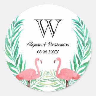 Het Monogram van het Huwelijk van de Palmbladen Ronde Sticker