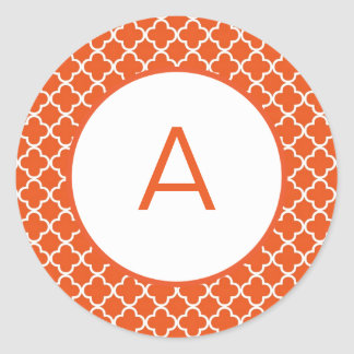 Het Monogram van het Patroon van Quatrefoil Ronde Sticker
