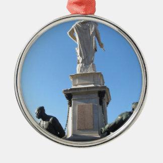Het monument Quattro Mori (van Vier legt vast) Zilverkleurig Rond Ornament