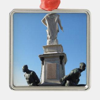 Het monument Quattro Mori (van Vier legt vast) Zilverkleurig Vierkant Ornament
